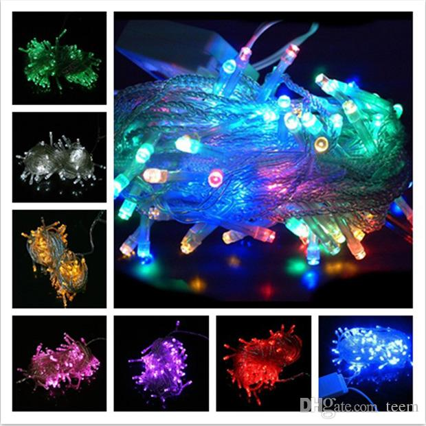 DHL LED Light Noël Crazy Vente de 10m / PCS 100 LED String Décoration de décoration 110V 220V pour le mariage de fête LED Lumineux Twinkle de Noël