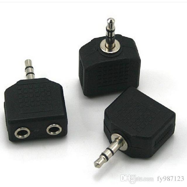 Wholesale Universal Mini 3.5mm 1 to 2 Audio Line Headset Headphone Earphone Splitter Connector Convertor Adapter