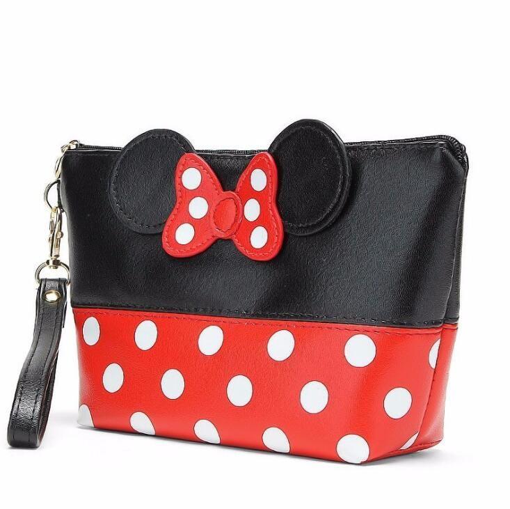 Travel Cosmetic Bag Cartoon Bow Makeup Case Women Zipper Hand Holding Make Up Handbag Organizer Storage Pouch Toiletry Wash Bags