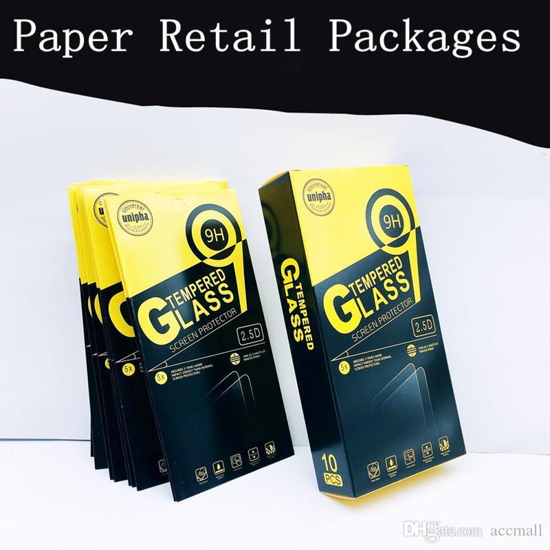 Leeres Kleinpaket Papierkästen 10pcs in Each Günstige Box-Verpackung für Premium-9H-ausgeglichene Glas-Schirm-Schutz iPhone Samsung Huawei Sony