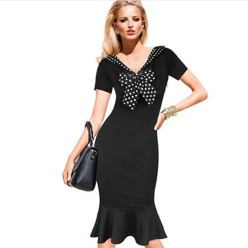 Lcw New Fashion Womens Elegant Vintage Rockabilly Mermaid Patchwork Polka Dot Tunic Bow Party Bodycon Wiggle Black Dress