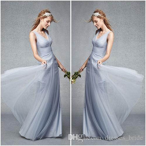 Dusty Blue Bridesmaid Dresses V_neck Pleat Bodice Romantic Tulle ...