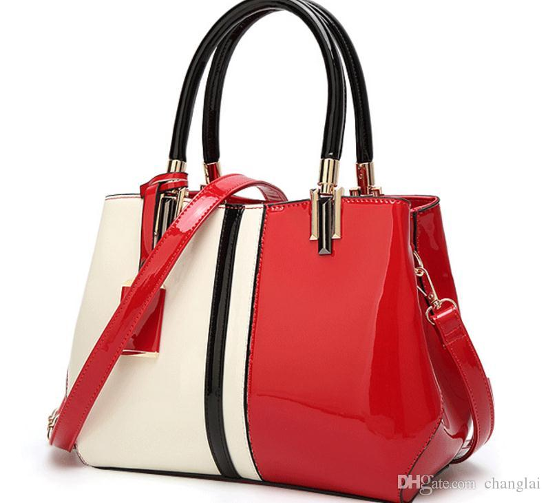 2017 new patent leather handbag simple Korean fashion all-match air personality bright shoulder hand bag