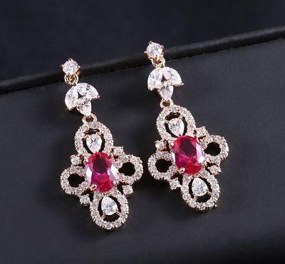 orecchini di zircone pietra fiore signora (3 * 2,5 cm) (woniu152)