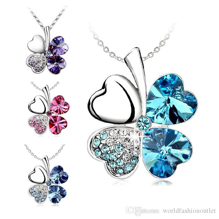 High Quality Necklaces Four Leaf Clover Pendant Necklace Lovers Gift Crystal Rhinestone Pendant Necklac Four Leaf Clover Necklaces Free DHL