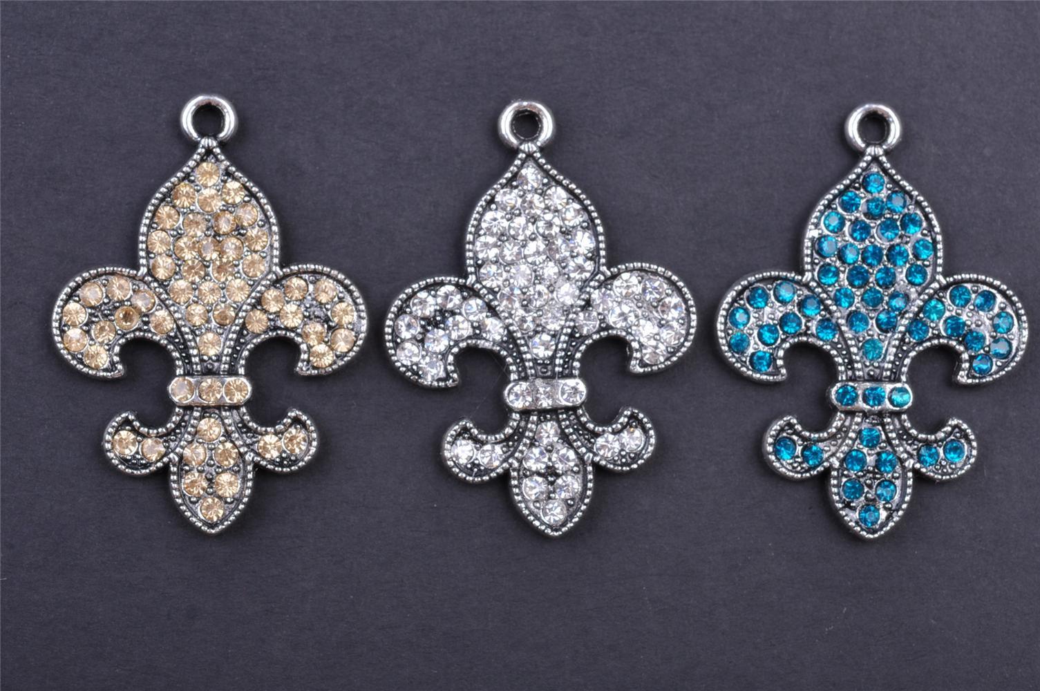 2018 42mm Iris Flower De Luce Pendant Beads Crystal Charms 7106
