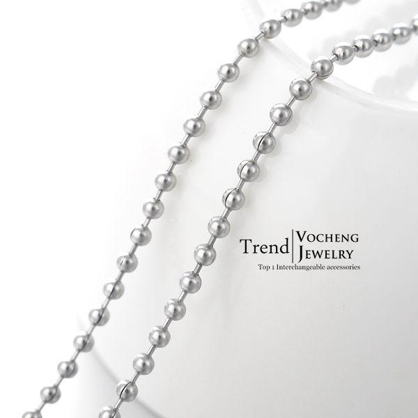 60cm فضة الفولاذ المقاوم للصدأ الخرز سلسلة المشبك جراد البحر قلادة معدنية fadeless accessoies (vc-- 020) مجوهرات vocheng
