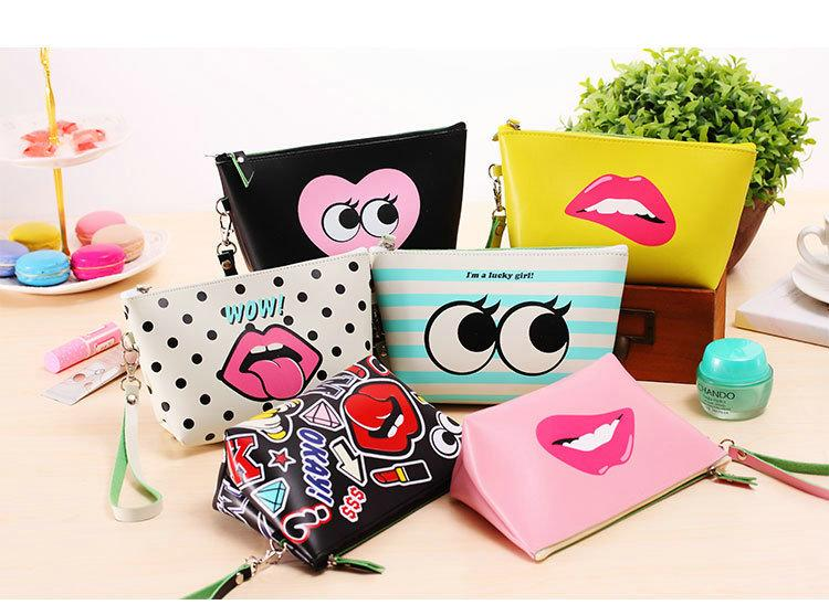 8 Colors Cute Modern Girl Makeup Storage Bag Makeup Cosmetic Bag Lady Waterproof PU Leather Make Up Case Tour Toiletry Bag
