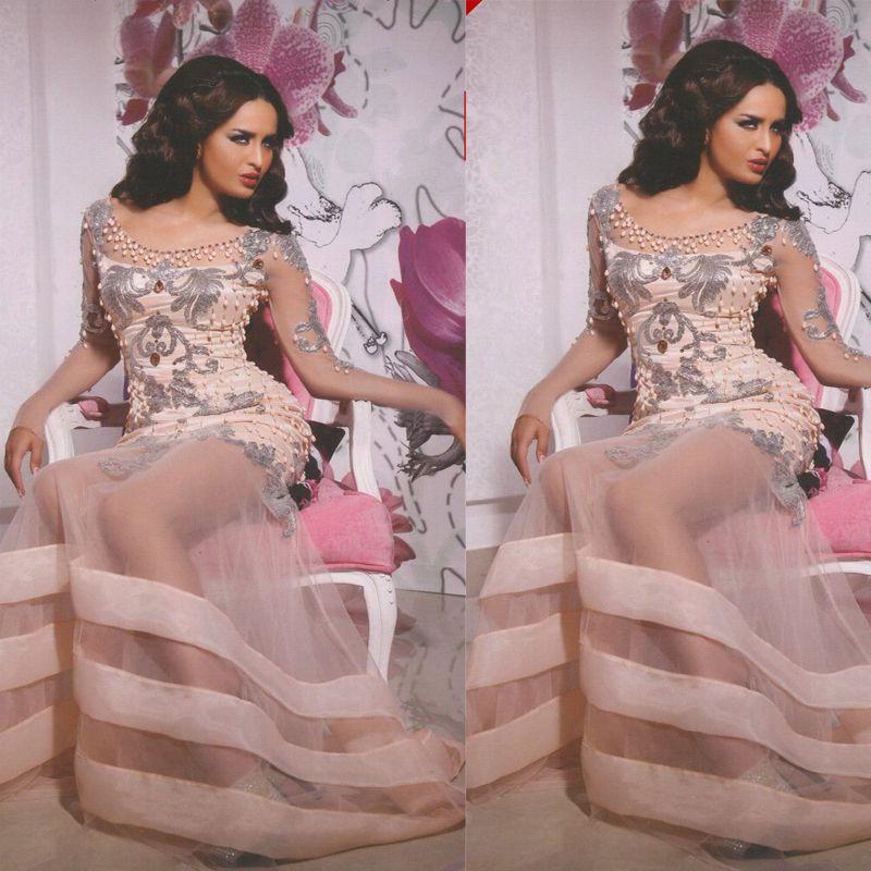 2015 vestidos de fiesta Cuello redondo Apliques / rebordear tul Sheer manga larga palabra de longitud vestidos de noche Dhyz 01