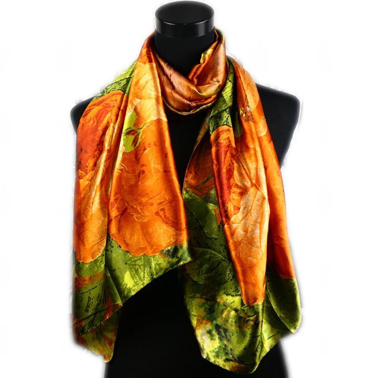 1 unids Caza Moda Mujer Satén Naranja Patrón de Pintura Al Óleo Abrigo Largo Chal Playa de Seda Bufanda 160X50 cm