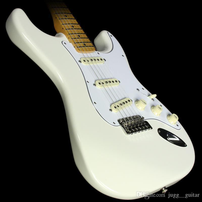 커스텀 샵 70의 지미 헨드릭스 올림픽 화이트 ST 일렉트릭 기타 메이플 넥 지판 도트 인레이, 특별 새겨진 넥 플레이트