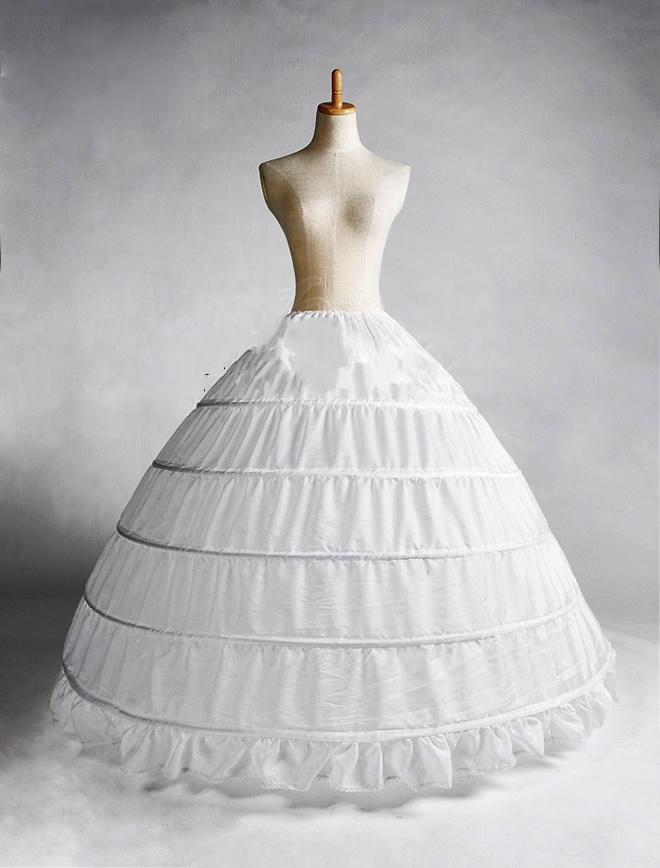 2015 White 5 Hoop Petticoat Crinoline Slip Underskirt Bridal Wedding Suknia Gorąca Sprzedaż Prawdziwa Próbka Bridal Princess Petticoat Underskirt