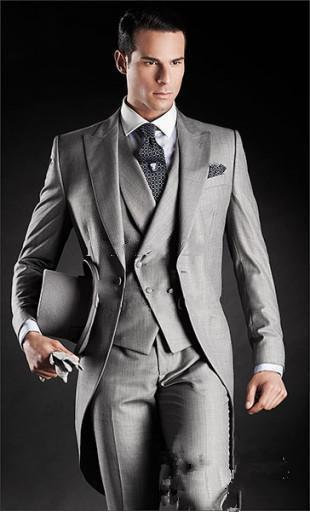 사용자 정의 회색 신랑 조끼 2 버튼 롱 재킷으로 남성 결혼 남성 정장 신랑 턱시도 웨딩 정장 신랑 드레스를 착용 제작