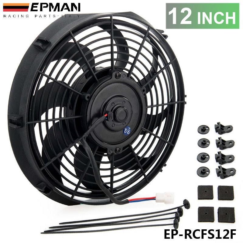 """Tansky - EPMAN Racing Car Universal 12V 12"""" Electric Fan Curvo S Blades Radiador ventilador de refrigeração para Radiator Radiador de óleo EP-RCFS12F"""