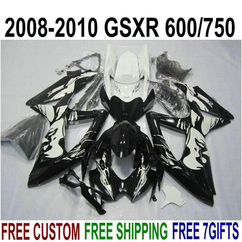 Полный обтекатель ABS для SUZUKI GSXR750 GSXR600 2008-2010 K8 K9 белый черный обтекатель GSXR600 / 750 08 09 10 KS81