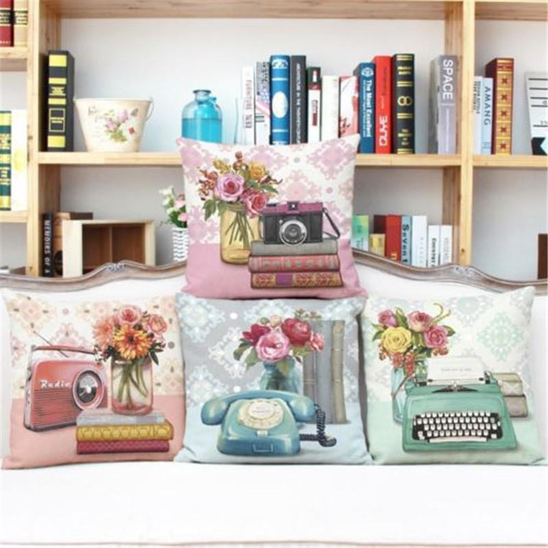 Wholesale- Vintage Decorative Home Cotton Linen Pillow Case Cover Living Room Bed Chair Seat Waist Throw Cushion Rose Flowers Pillowcases