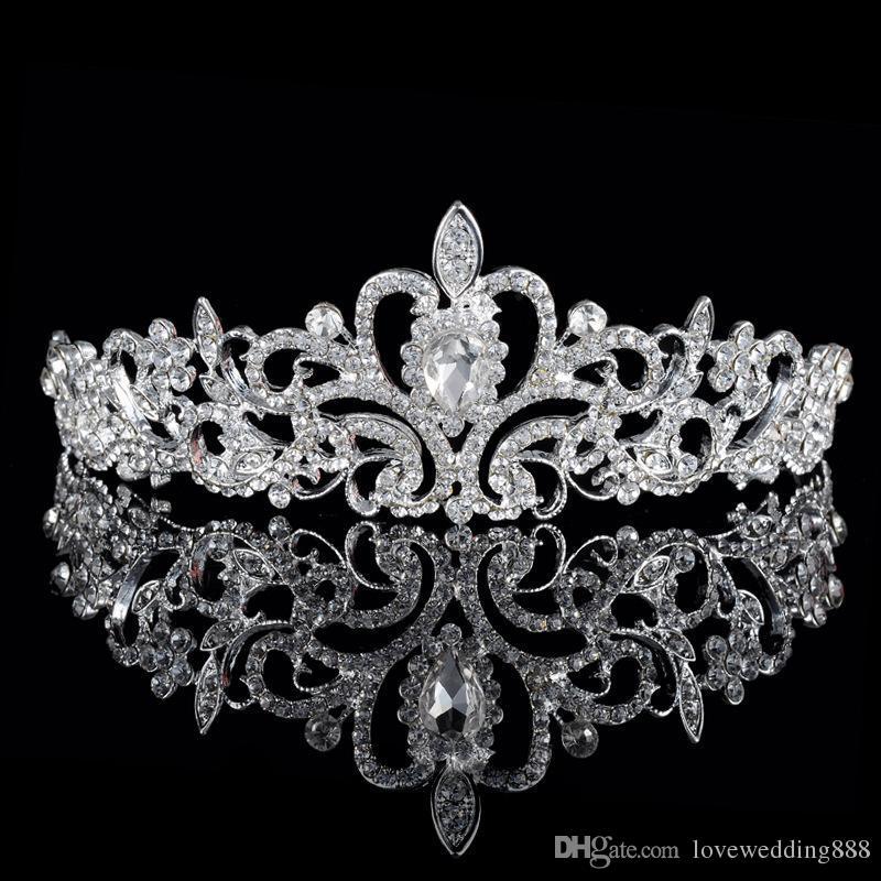 Blowing Beaded Crystals Crowns Corone di nozze 2019 Bridal Crystal Veil Tiara Corona Corona Fascia per capelli Accessori per capelli Party Tiara Trasporto libero