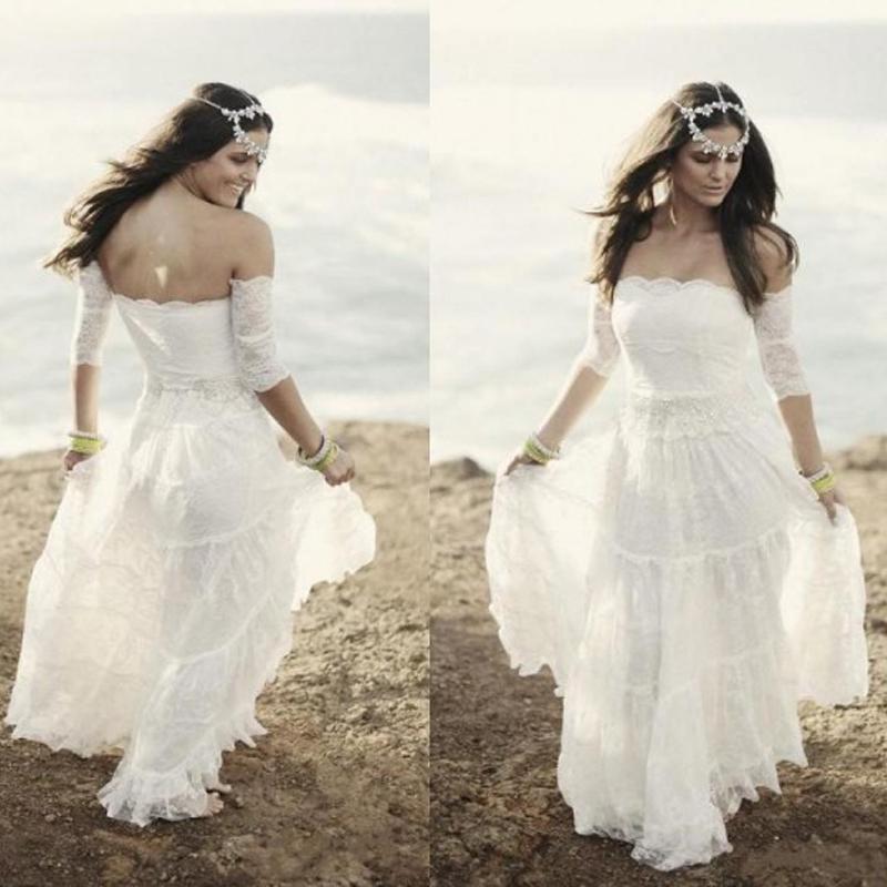 여름 레이스 비치 웨딩 드레스 빈티지 보헤미안 신부 가운 Strapless Boho Brides 가운 플러스 사이즈 빈티지 드레스 짧은 소매