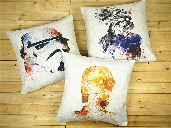 Phenomenal Star Wars Cushion Covers Watercolor Painting Yoda Darth Vader Troops Pillow Cover Decorative Linen Cotton Pillow Case For Sofa Seat Chair Replacement Creativecarmelina Interior Chair Design Creativecarmelinacom