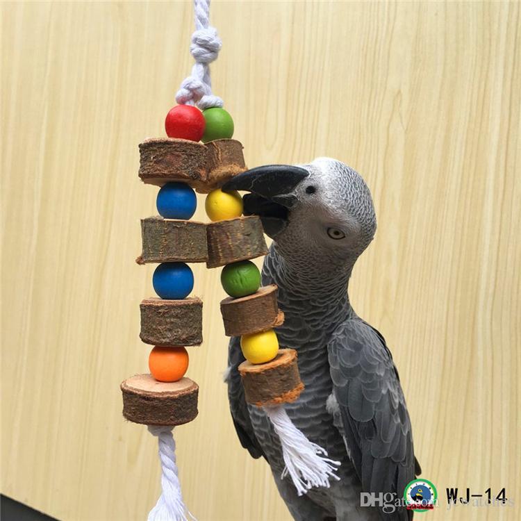 Jouet de perroquet oiseau en bois massif Chaîne de balle en bois Jouet Oiseau Cacatoès Jouet à mâcher