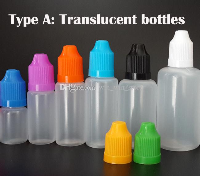 Vape E-juice E-liquid Plastic Dropper Bottle 5ml 10ml 15ml 20ml 30ml 50ml 60ml PE Needle Bottle With Childproof Cap and fine tips