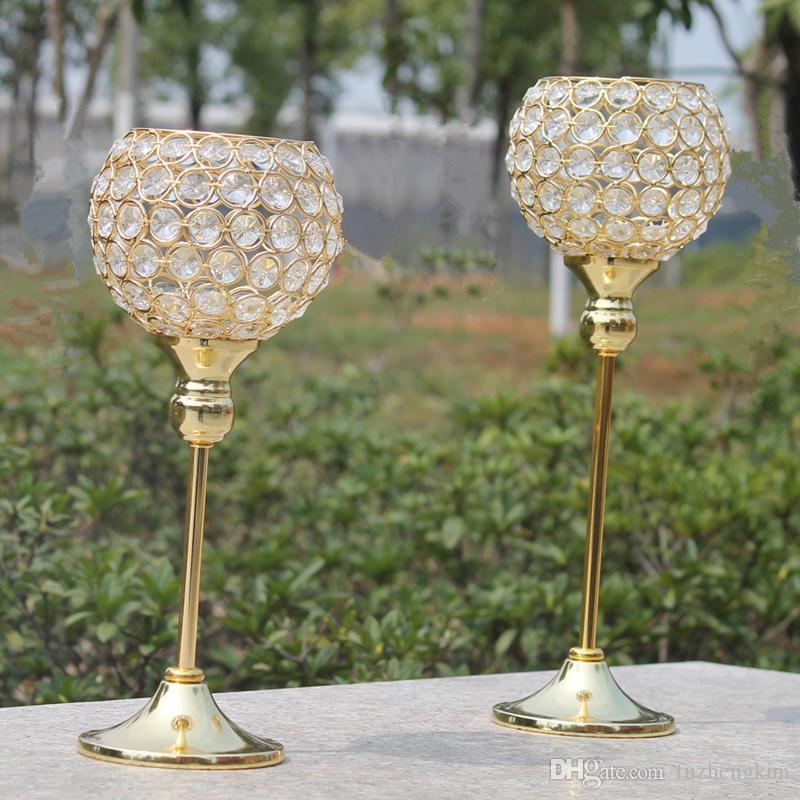 Nova metal ouro castiçal revestida com casamento cristais candelabros / peça central decoração castiçal um conjunto = 2 pcs