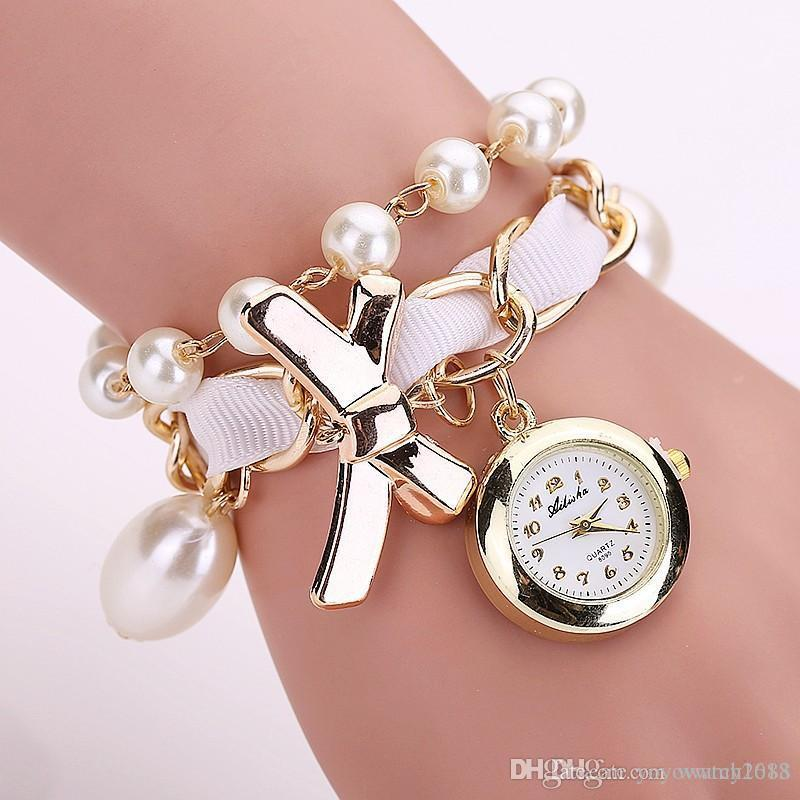 New Fashion Women Pearl Bow Bracelet Watch Casual Women Wristwatches Luxury Quartz Watch BEST Gift Clock