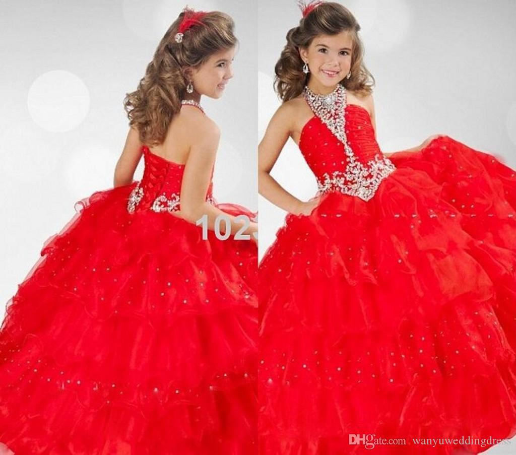 Pretty Red Halter Sequined Bling Crystals Little Girls Pageant Dress ...