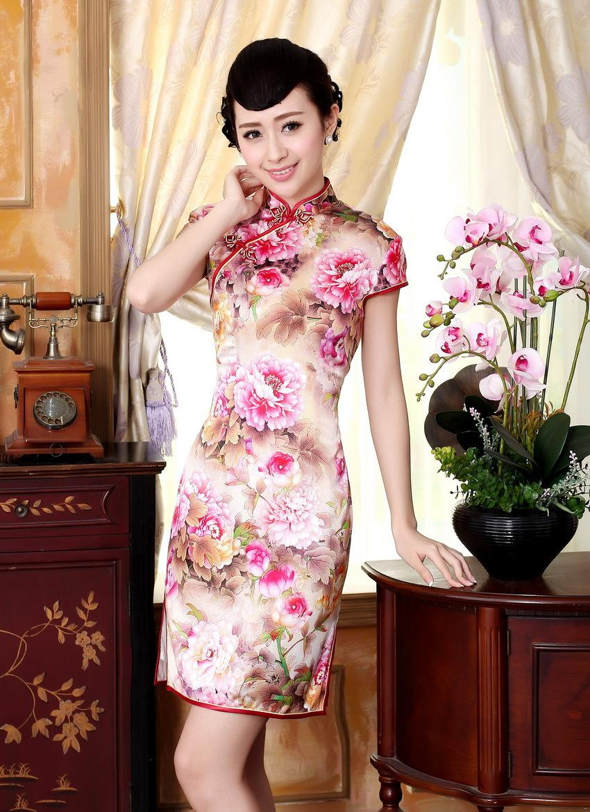 Free shipping Top-grade Silk cheongsam 100% Mulberry high silk cheongsam Floral painting chinese traditional clothing qipao dress Z002X