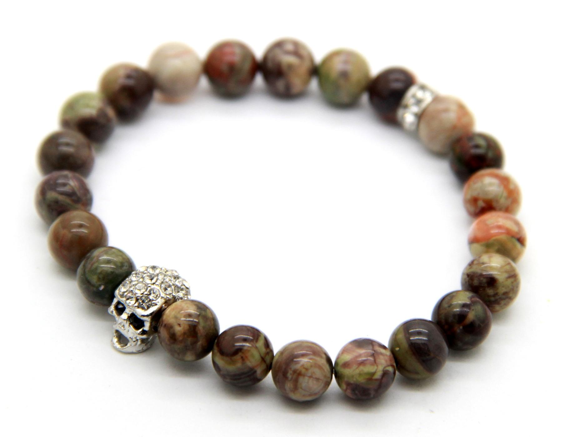 2015 новый дизайн высокое качество Мужские браслеты оптом 8 мм натуральный океан яшма камень бусины Серебряный Кристалл череп браслеты для мужчин или женщин