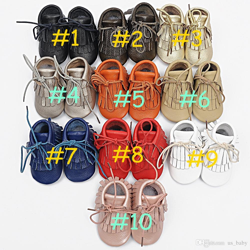 retail 1pair baby Genuine leather Double tassel Boot infant moccasins booties kids soft shoes Toddler birthday gift