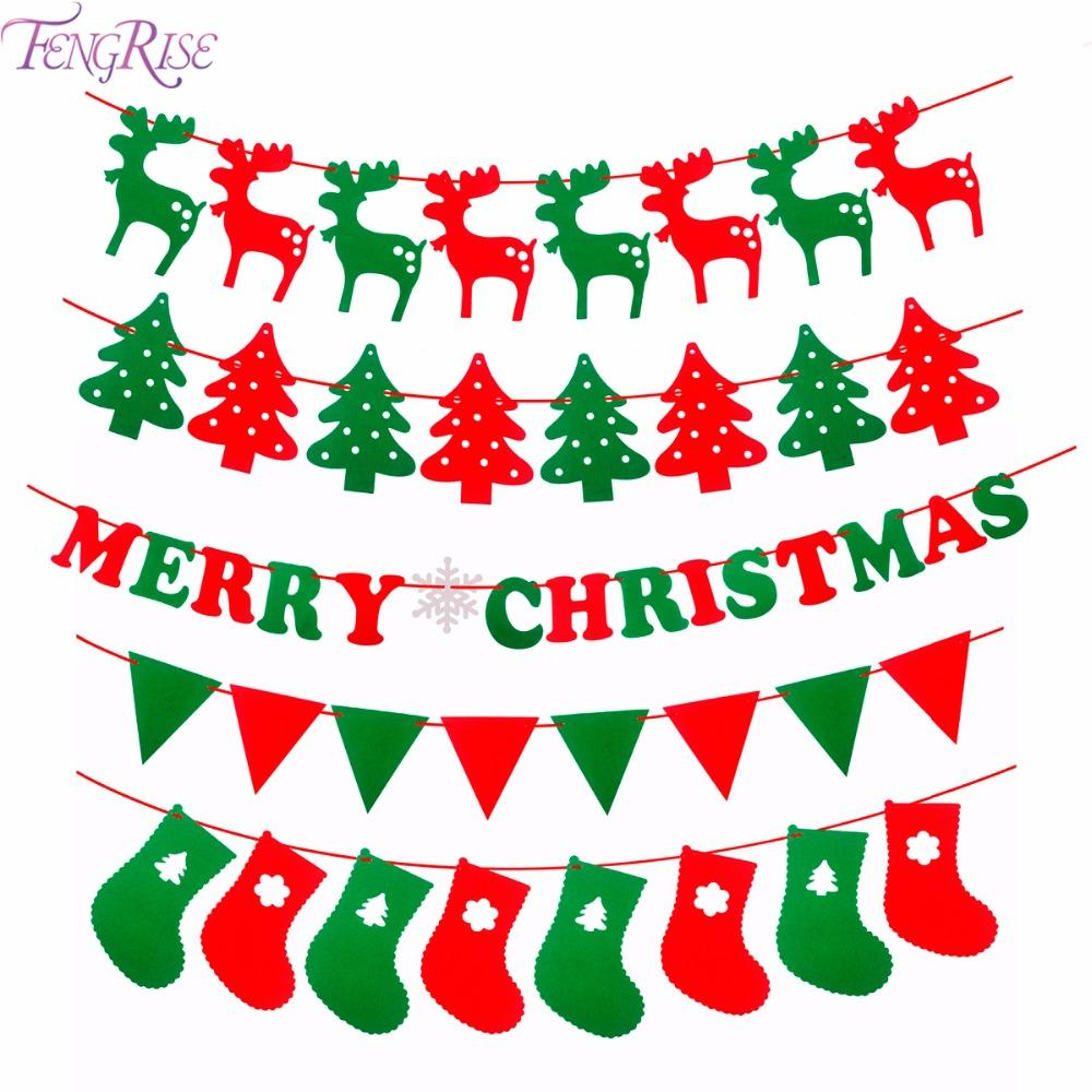 Christmas Banner.Fengrise Merry Christmas Banner Reindeer Socks Xmas Tree Flags Happy New Year 2018 Christmas Decorations Photo Booth Props Shop For Christmas