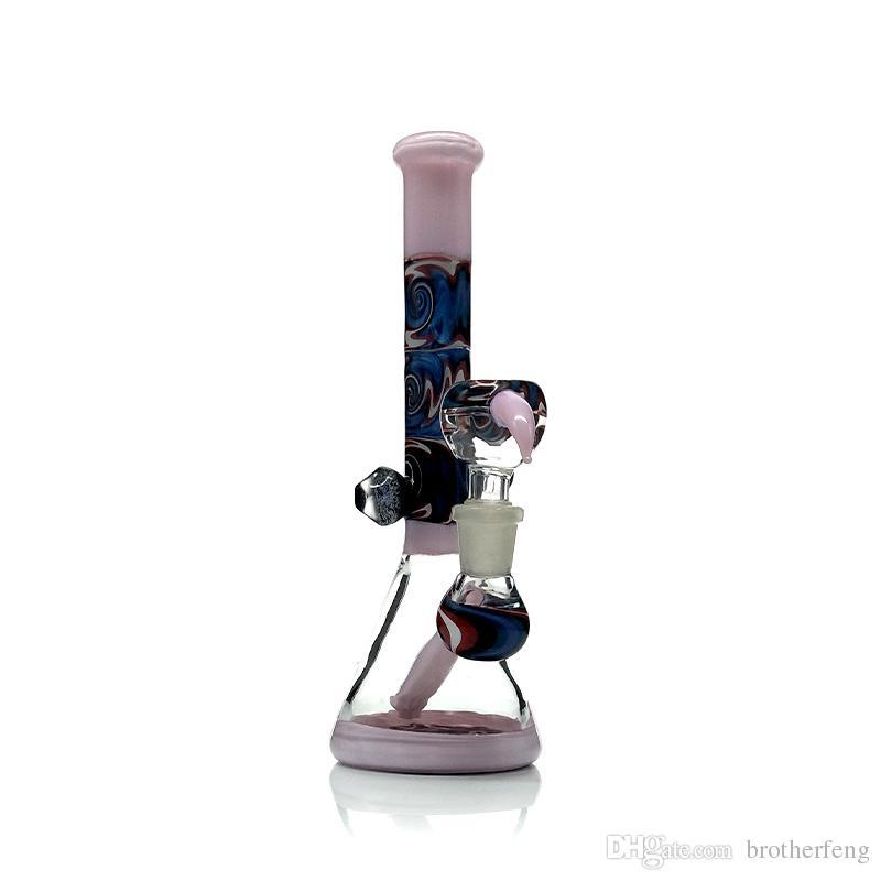 유리 8 인치 석유 14mm 여성 공동 다채로운 비커 파이프 봉 장비 혼 소량의 장비를 기억 만 그릇 함께 흡연
