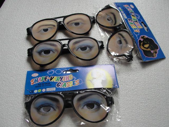 Engraçado lentes de plástico Halloween Presente de Natal Piada Partido óculos de Plástico Mulheres e Homens Olho Maluco óculos engraçados meninas 300 pçs / lote