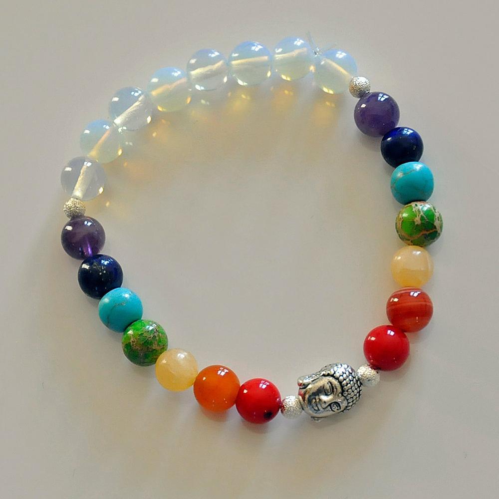 SN0215 Naturalcrystal 7 Chakra Opal Boeddha Energie Power Rainbow Armband Yoga Reiki Meditatie Bescherming Transformatie Creativiteit