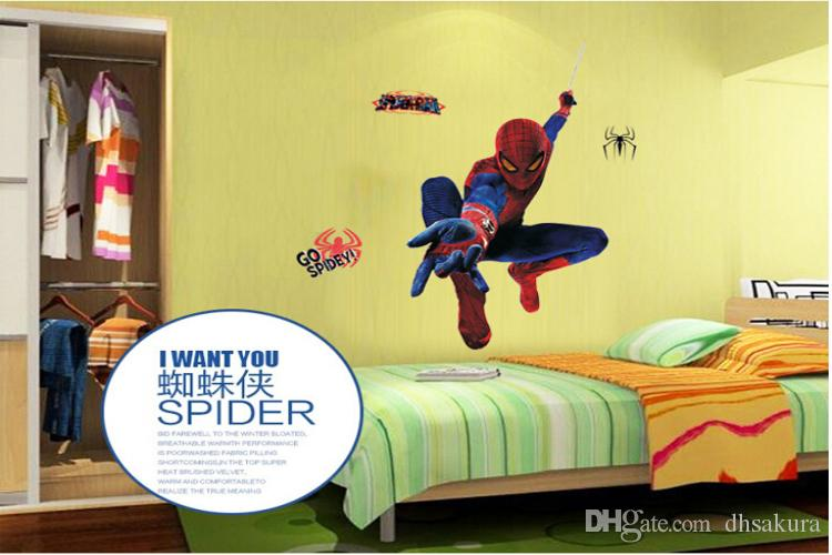 Spiderman Wall Stickers Bedroom Living Room Decorations Hero Wall ...