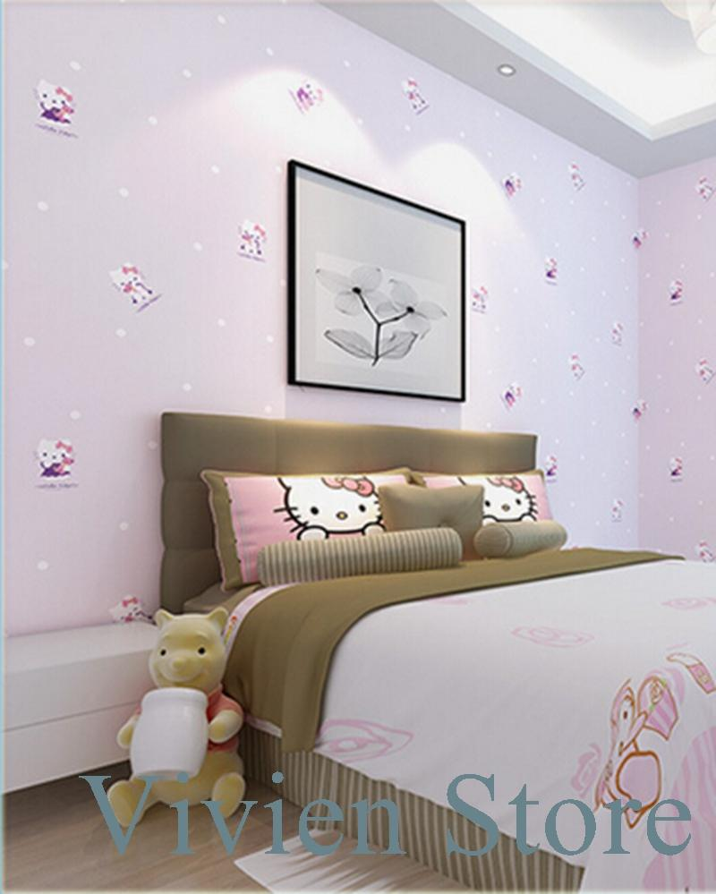 New Environmental Non Woven Wallpaper Cute Little Cat Kiti Modern ...