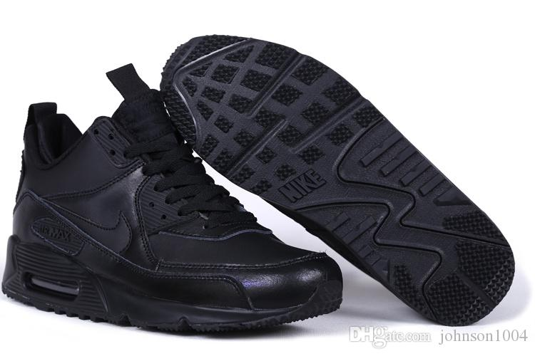 NIKE Air Max 90 SNEAKERBOOT Leather Men Running Shoes 2015 All BlackBrown Nike Air Maxes 1 Mid Cut Sport Shoe For Women And Girl Size 36 45 Athletic