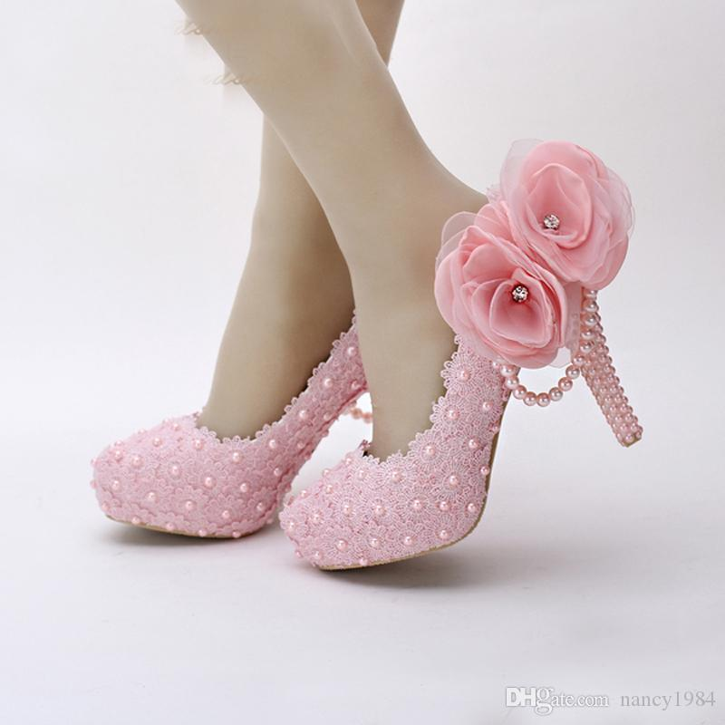 Pink White Flower Lace Platform Bridal Shoes Beautiful Women High Heels Handmade Lace Wedding Dress Shoes Girl Birthday Party Pumps