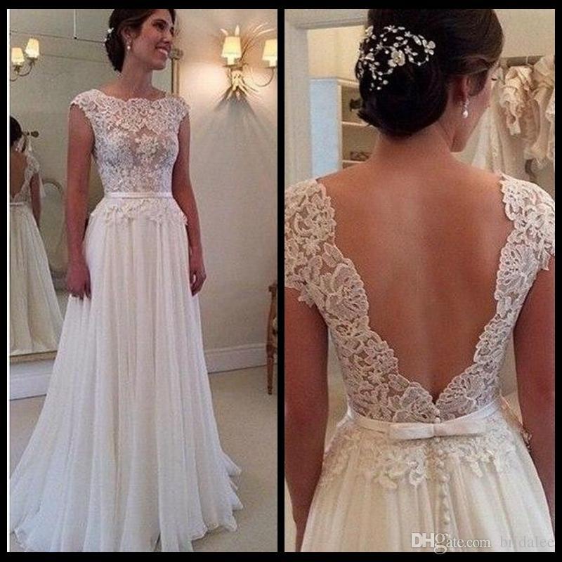 Nuovo arrivo 2016 Abito bianco su misura per la sposa Splendida vestidos De Noiva Una linea Cap Sleeve Lace Backess abito da sposa 2015