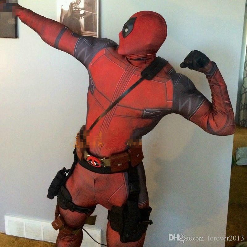 Hot Marvel Halloween Cosplay Full Body Deadpool Costume Adult ...
