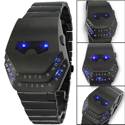 Fashion Luxury Watches Iron Man Cobra Snake Head Wrist watches Black with Blue Light LED Mens Stainless Steel digital watch for Men