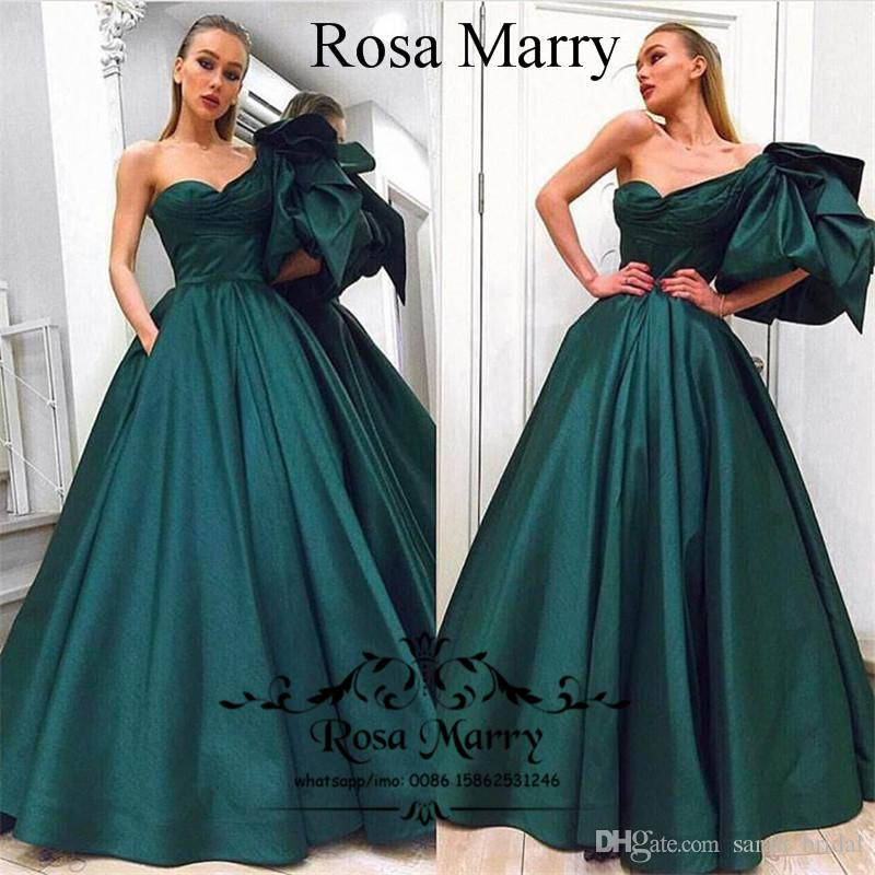Emerald Green Plus Size Arabic Evening Gowns With Pockets 2018 Ball Gown  One Shoulder Cheap African Formal Dresses Party Evening Prom Gowns Dress ...