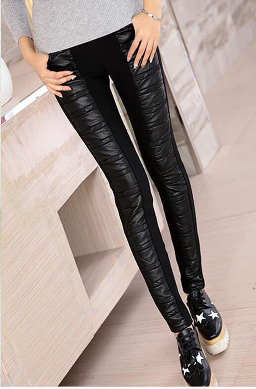 Le donne nuova moda per il tempo libero invernale a vita alta e ispessimento caldo cuciture strette pantaloni di pelle stretch come una matita. M - 2xl