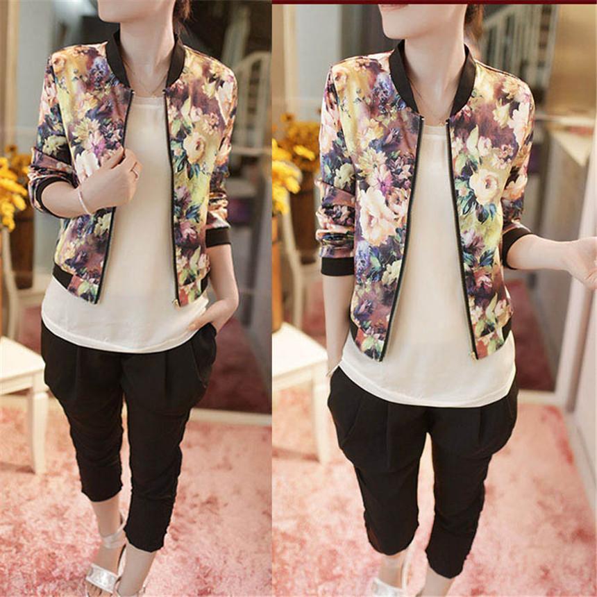 도매 - 2017 새로운 패션 봄 가을 Fahion 여성 스탠드 칼라 긴 소매 지퍼 꽃 인쇄 폭탄 재킷