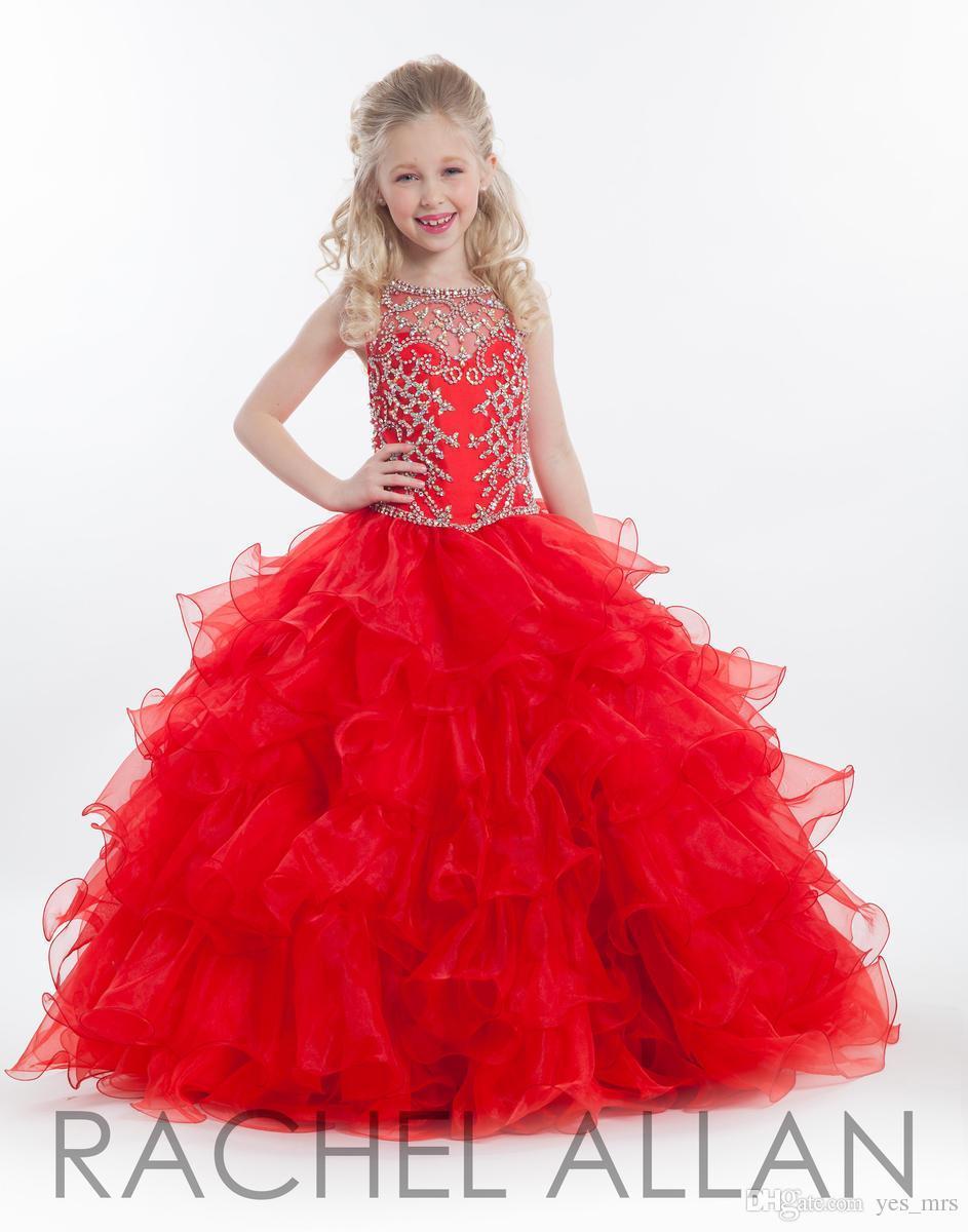 2020 Rood Goedkope Meisjes Pageant Jurken voor Tieners Illusie Hals Crystal Beades Red Ruches Tiered Lange Maat 13 Party Kids Flower Girl Glozen