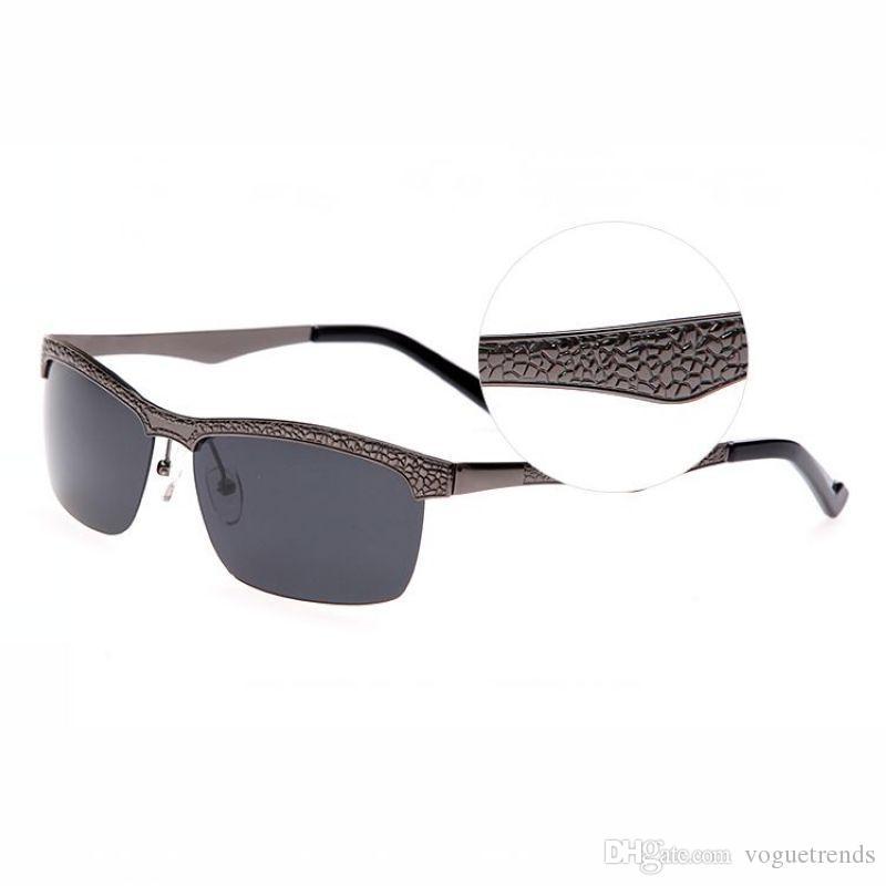 Поляризованные полу-без оправы змеиной металлической рамкой солнцезащитные очки для мужчин TAC серый Ретангулярные линзы мужские UV400 военный Gafas Polarizadas