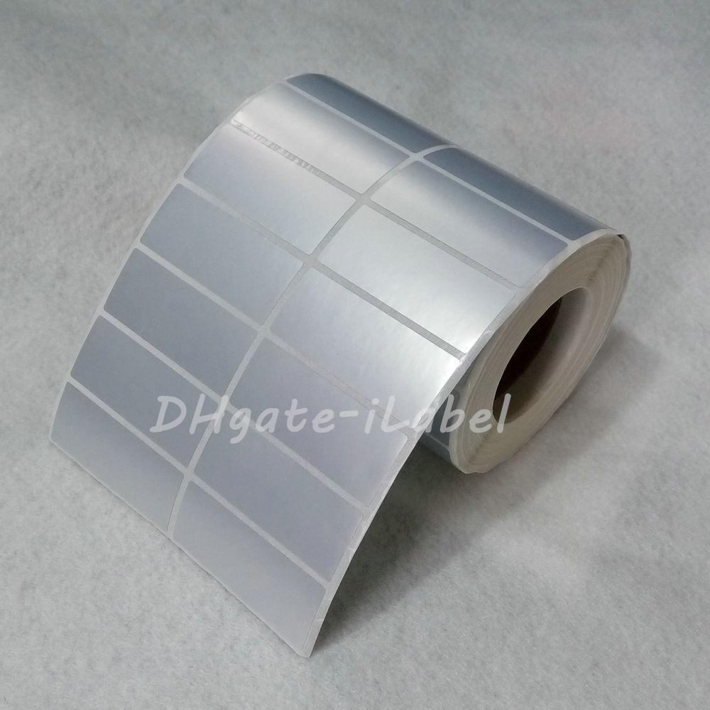 Adesivo etichetta adesiva PET satinato termico Tranfer 50 * 20mm 2500pcs / rotolo Impermeabile resistente all'acqua Tearproof per numero di serie di codici a barre adesivi