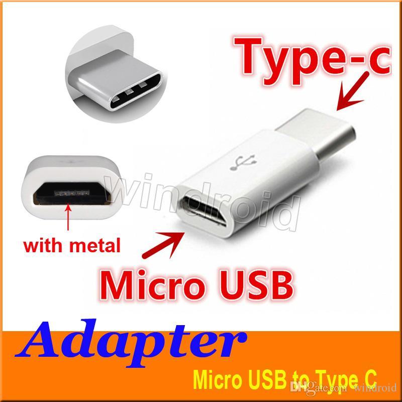 Micro USB a USB 2.0 Tipo-C Conector del adaptador de datos USB para Note7 nuevo MacBook ChromeBook Pixel Nexus 5X 6P Nexus 6P Nokia N1 Envío gratis