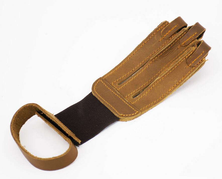 Arco e flecha Proteger Luva 3 Dedos Puxar Arco Flecha De Couro Luvas de Tiro drop shipping